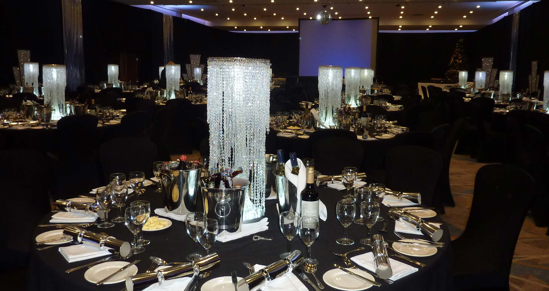 LED lighting included with most centrepieces