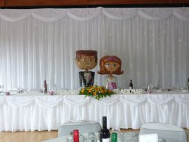 bride and groom backdrop